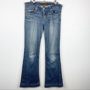 Fossil Relaxed Flare Medium Wash Denim Jeans | 28